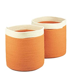 ICEBLUE HD Cotton Rope Storage Baskets 12X12.5 Inches Quality Woven Baskets Set of 2 Kids Toy Basket Large Rope Baskets-Orange Beige
