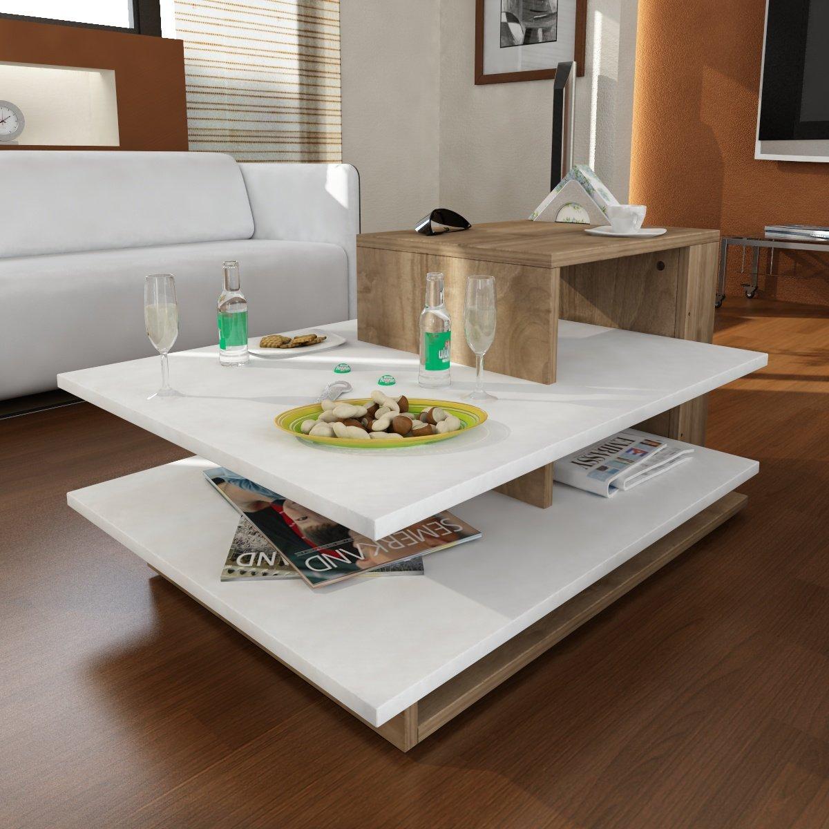 Table basse Table de salon beistel Table Vénus dans blanc de noyer Marron