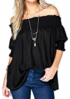 Relipop Women's Fashion Off Shoulder Tops Haft Sleeve Blouses Causal T-shirts