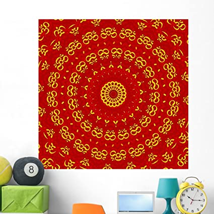 Red And Golden Wall Design