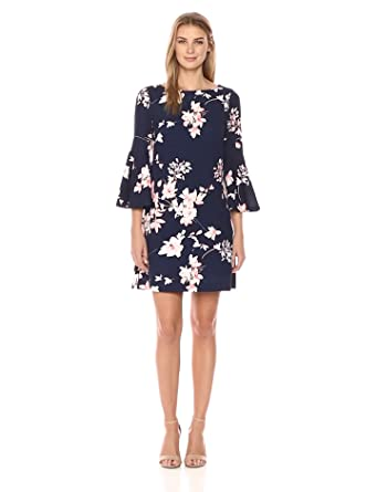 6d248a0a Eliza J Women's Printed Bell Sleeve Shift Dress at Amazon Women's ...