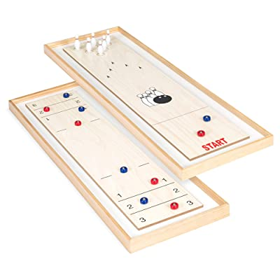 Best Choice Products 2-in-1 2-Player 45in Shuffleboard and Bowling Tabletop Board Game Set w/ 8 Rollers, 12 Bowling Pins: Toys & Games