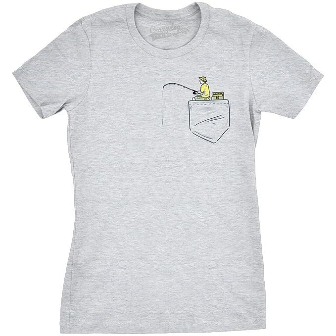 Crazy Dog Tshirts Womens Pocket Fisherman Funny T Shirts Printed Graphic  Sporting Tee Novelty T Shirt