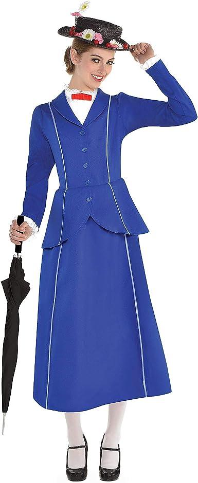 Disney Mary Poppins 2 Piezas. Disfraz de Mujer con Sombrero, Talla ...