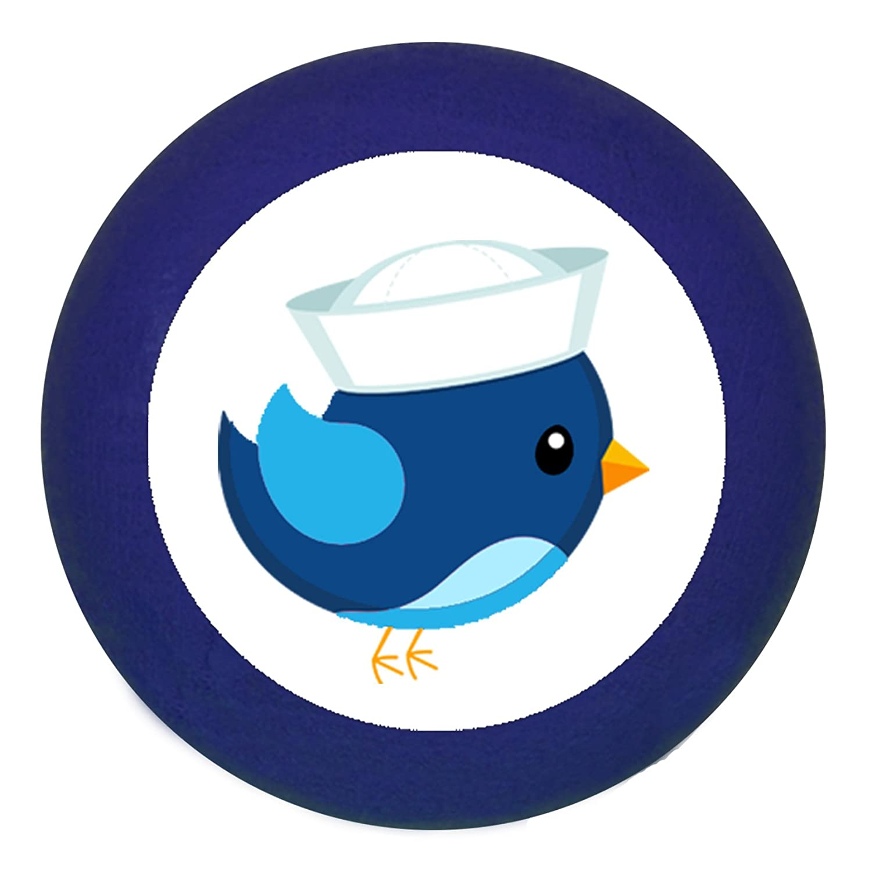 dunkelblau T/ürknauf M/öbelknauf M/öbelknopf M/öbelgriff Jungen hellblau dunkelblau blau Massivholz Buche Kinder Kinderzimmer Vogel Matrose blau hellblau maritim