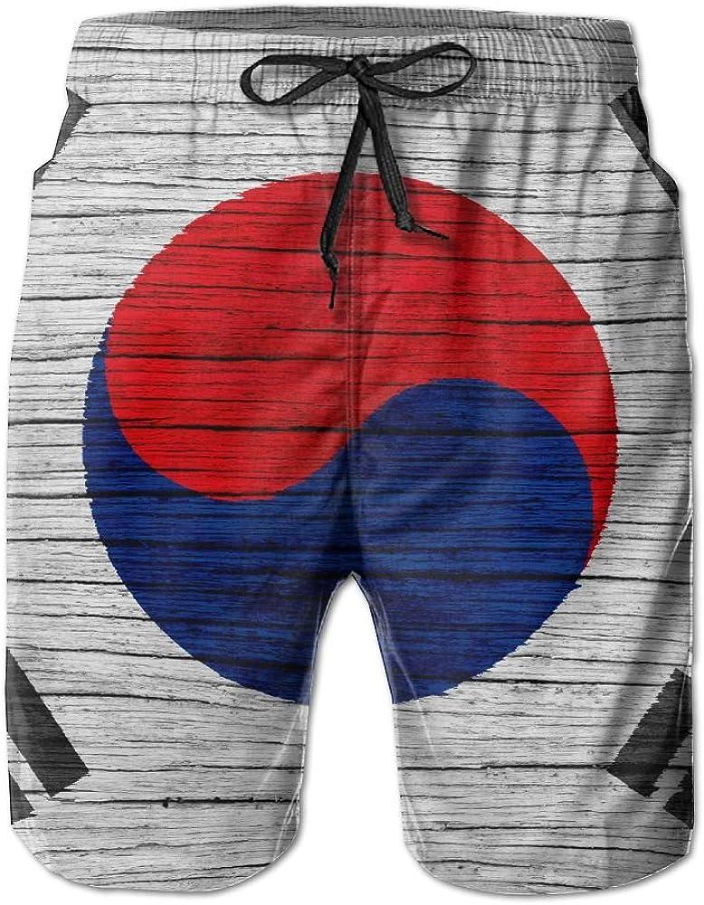 HFSST Wooden Texture South Korean Flag Men Kid Male Summer Swimming Pockets Trunks Beachwear Asual Shorts Pants Mesh