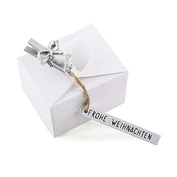 20 unidades pequeñas Mini blancos del paquete caja caja feliz navidad regalo caja de regalos de Navidad de clientes empaquetar Give Away weihnachtlich: ...