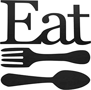 Jetec 3 Pieces Wood EAT Sign Fork Spoon Wall Decor Eat Wooden Farmhouse Kitchen Wall Sign Wooden Block Rustic Wooden Eat Wall Sign Wooden Hanging Kitchen Wall Decor for Home Kitchen Decor (Black)
