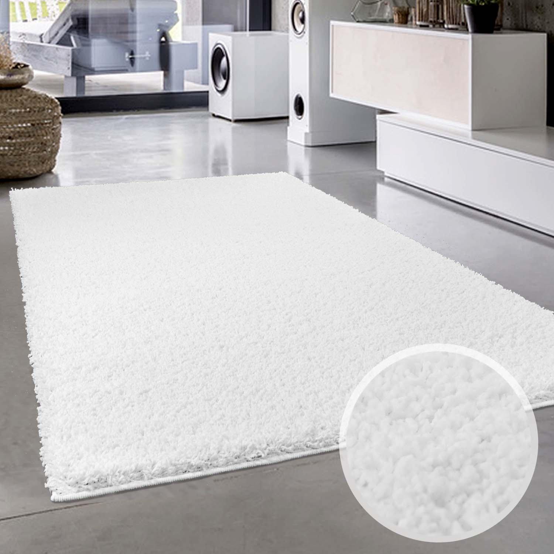 Carpet city Uni Hochflor Shaggy Teppich Einfarbig Weiss Rund und Rechteckig Öko Tex, Größe in cm 200 x 200 cm
