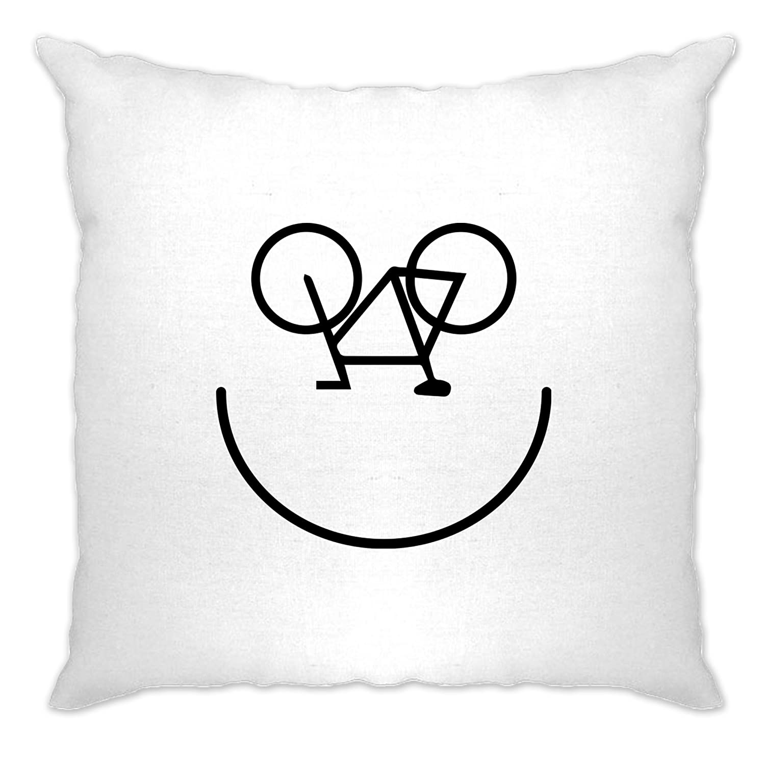 Tim And Ted Cycling Cushion Cover Bicycle Smile Face Logo White One Size A-CC-01092-WHT