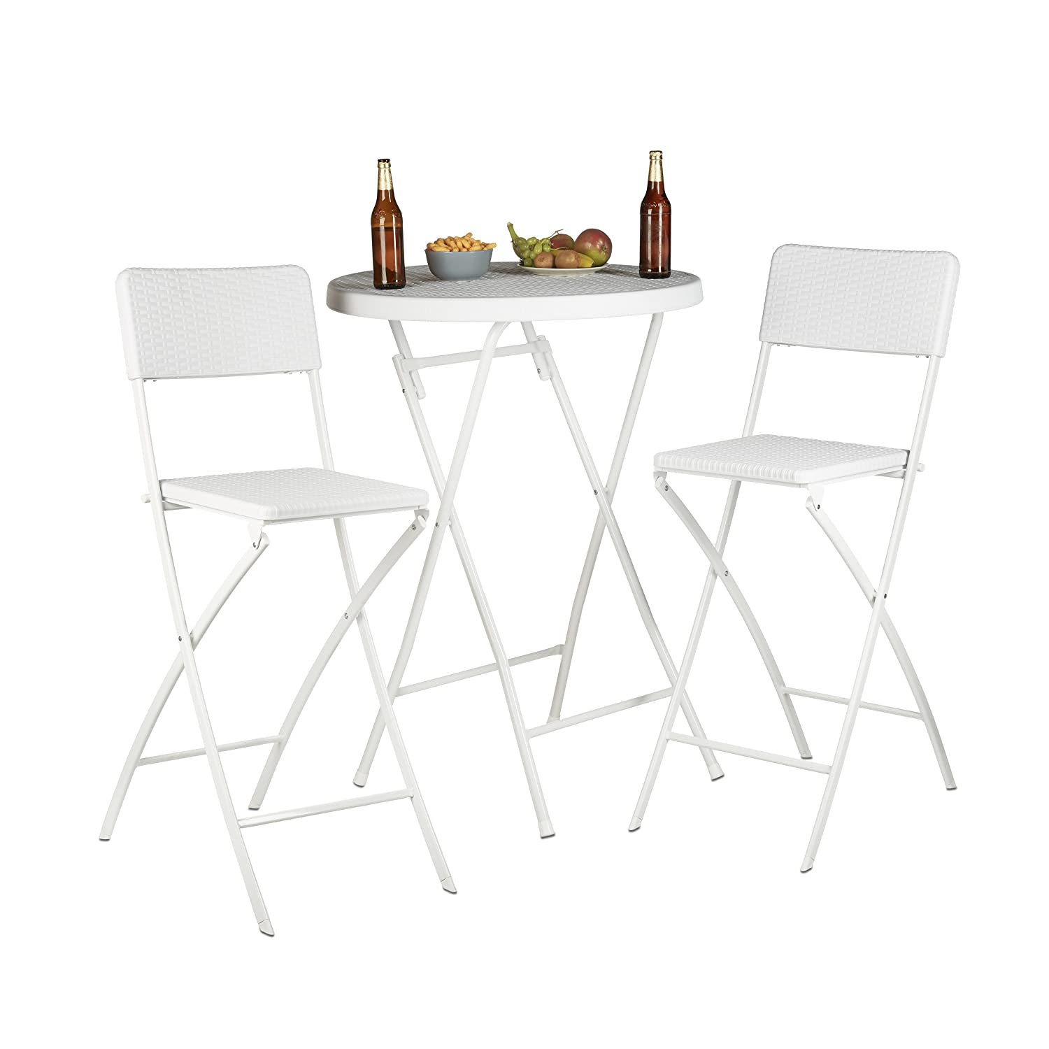 Wondrous Relaxdays Bastian Folding Bar Stools Rattan Look Backrest Bistro Chairs Foldable 78 Cm Tall Counter Height White Lamtechconsult Wood Chair Design Ideas Lamtechconsultcom