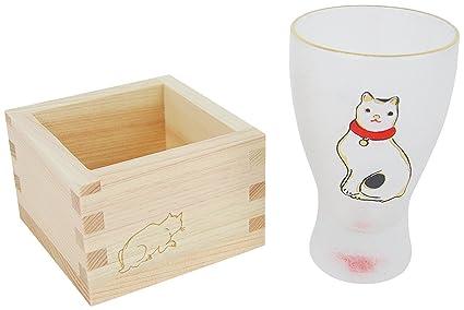 Aderia Japón Edo Neko (Gato) MasuZake de Vidrio (Sake Japonés) Lindos Gatos