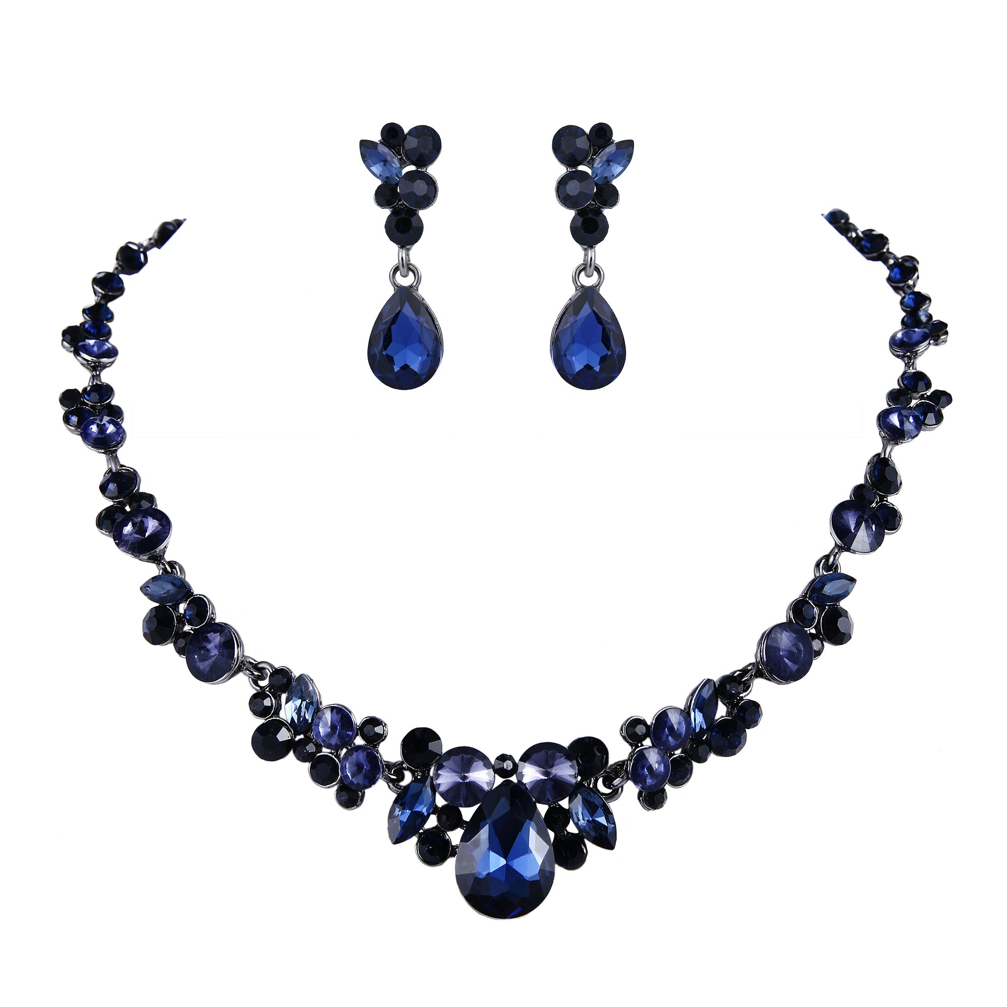 EVER FAITH Rhinestone Crystal Bridal Floral Teardrop Necklace Earrings Set Sapphire Color Black-Tone