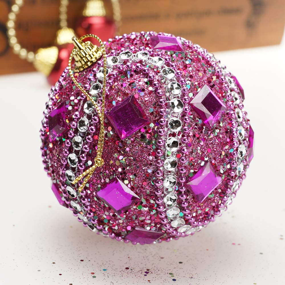 Kimanli Christmas Rhinestone Glitter Point Balls Party Ornaments Christmas Tree Hanging Decor Gifts Hot ! (Hot Pink)
