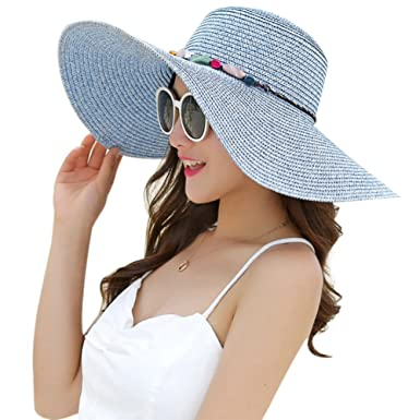 ae7f6fa8 Aloiness Foldable Wide Brim Panama Summer Straw Sun Hats Fedora Trilby Hat  for Hiking Camping Traveling: Amazon.co.uk: Clothing