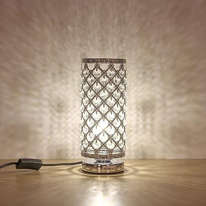 HAITRAL Crystal Table Lamp Modern Night Light Lamp With Metal Frame 110 Pcs  Crystals Elegant Bedside