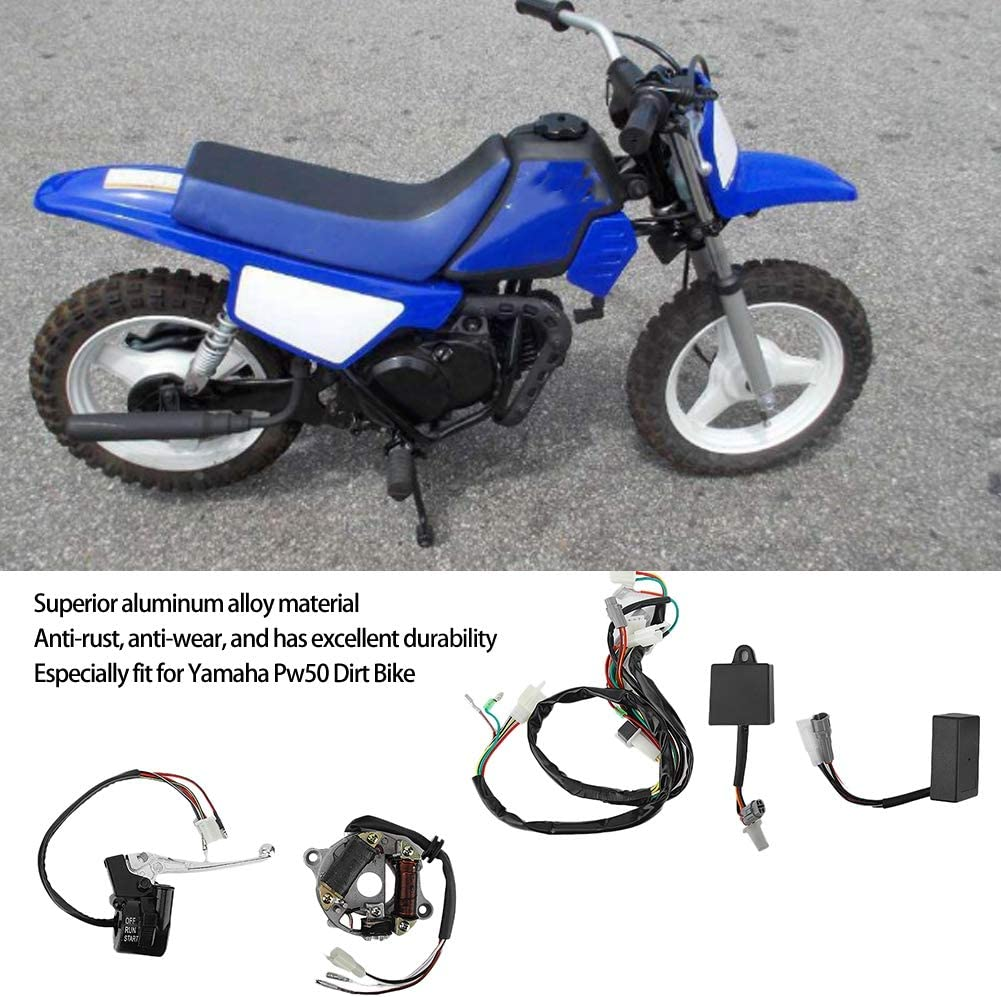 CDI Switch Brake Lever Coil Kit Fit for Yamaha Pw50 Dirt Bike Wiring Loom Harness Aluminum