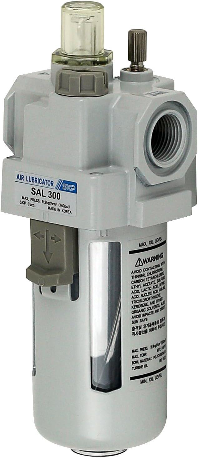 soporte PneumaticPlus SAL300-G03B Lubricador de aire comprimido 3//8 pulgadas BSPP Cuenco de polietileno