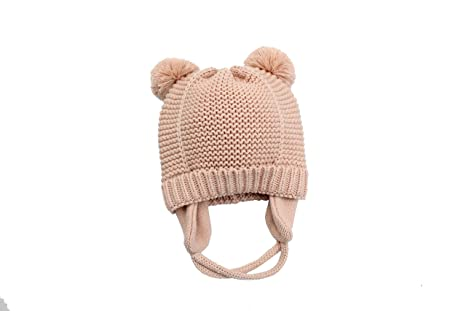 Tukistore Unisex Bebé Sombrero de Orejeras Calentar Color Puro Sombrero de Invierno Gorro de Lana Orejas