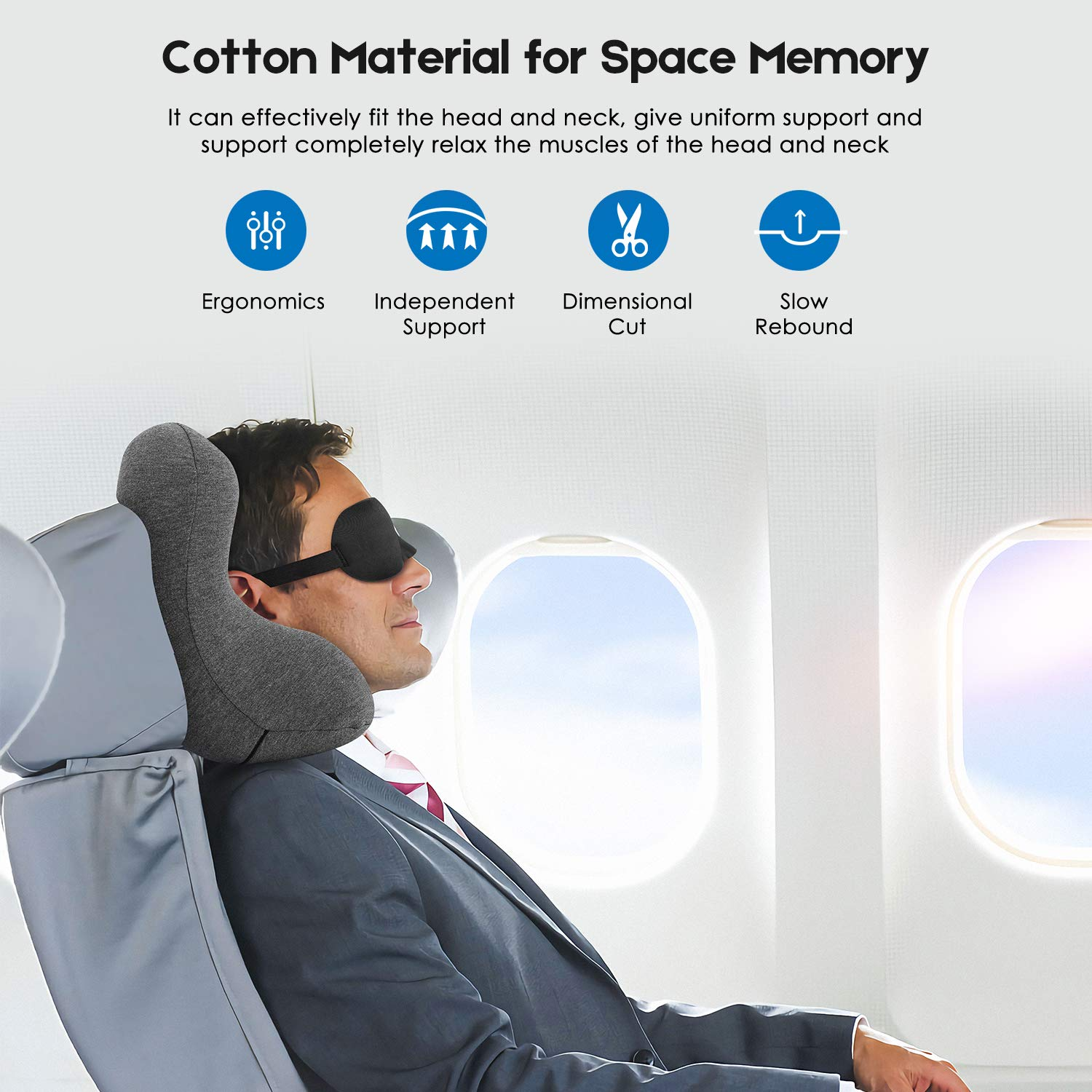 Patented Office Nap Pillow with Accessories VOUO Memory Foam Travel Neck Pillow Grey Head Support for Airplane Train Car Camp Kids