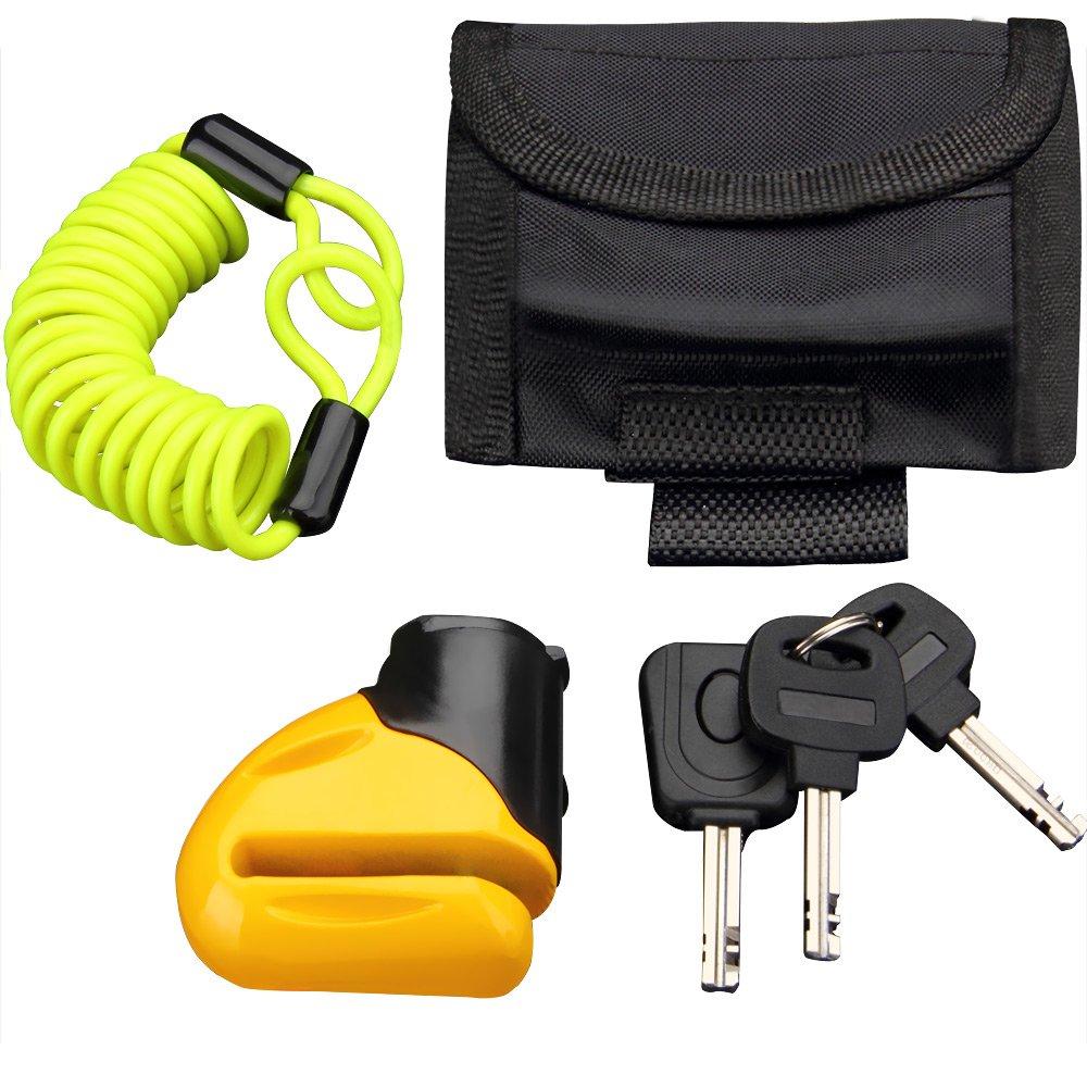Set antivol loquet verrouillage bloque disque clé s câ ble scooter et vé los - sac inclus Deuba