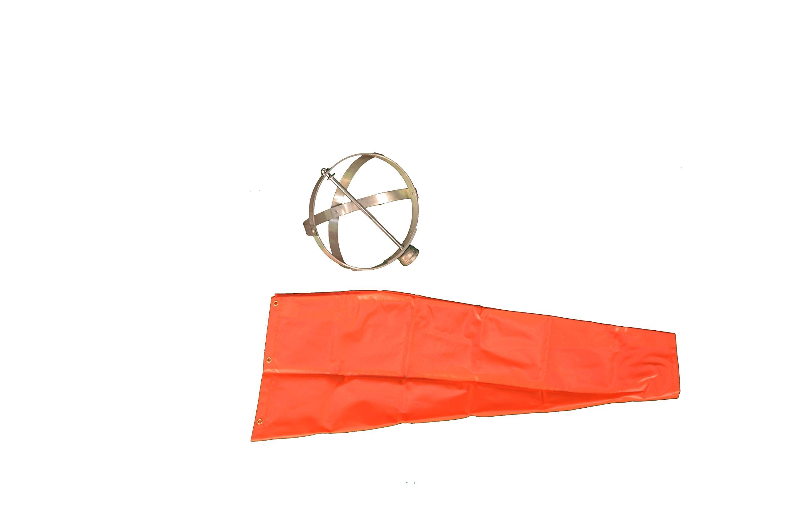 Cortina 03-WS-3KT PVC Over Nylon Windsock Kit, 10'' Diameter x 3' Length, Orange