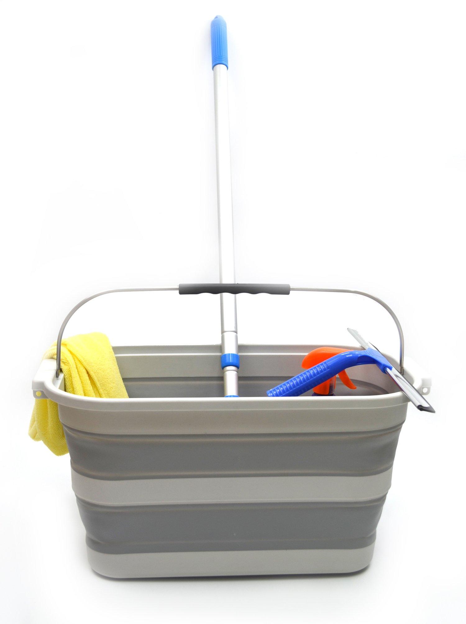 SAMMART 20.8L (5.49Gallon) Collapsible Rectangular Handy Basket/Bucket (S. Grey)