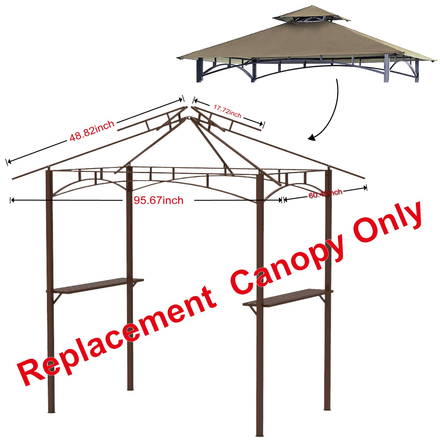 ABCCANOPY Grill Shelter Replacement Canopy roof for Model L-GZ238PST-11 (Beige) by ABCCANOPY (Image #2)