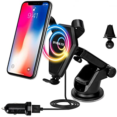 officialtek soporte de coche cargador inalámbrico Qi para iPhone X, 8/8 Plus,