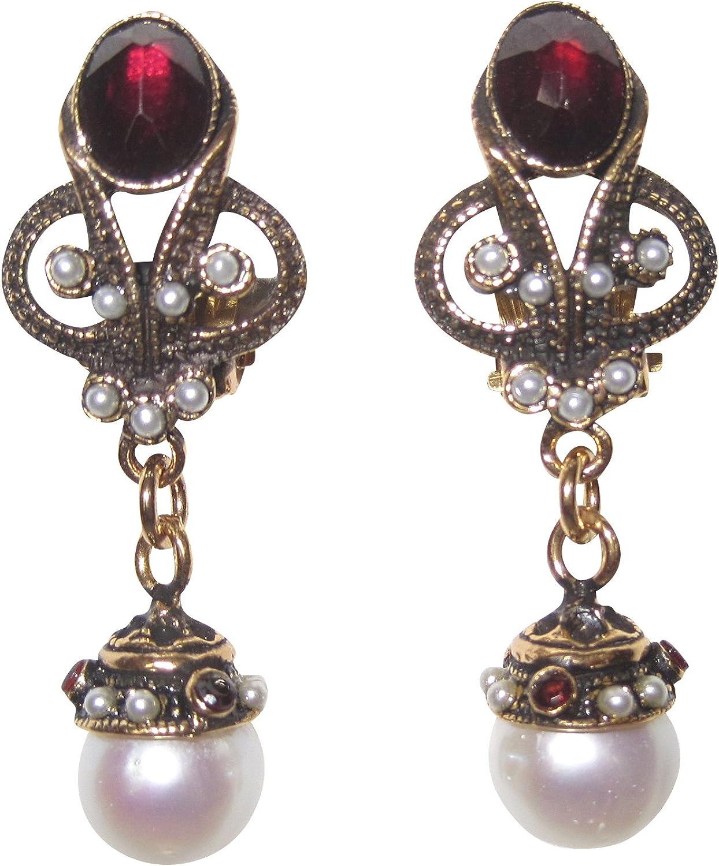 Pendientes rojos de aspecto antiguo, grandes piedras de granate, perlas de agua dulce, color blanco, colgantes, latón dorado, hecho a mano, único fabricado en Italia