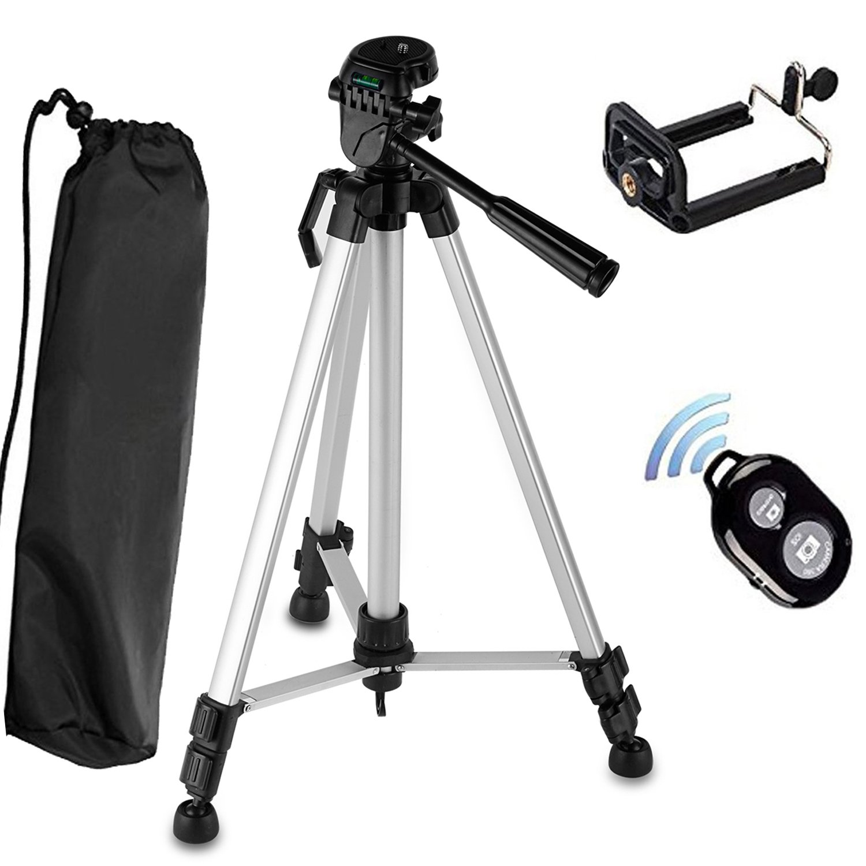 Camera Tripod, PEYOU 54'' inch Lightweight Portable Travel Aluminum Tripod  Bag, Smartphone Holder Mount, Bluetooth Remote Shutter Compatible for