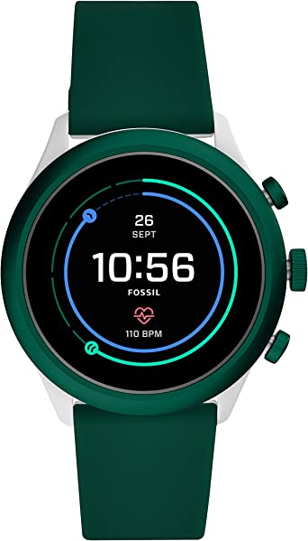 Fossil Mens Sport Metal and Silicone Touchscreen Smartwatch with Heart Rate, GPS, NFC, and Smartphone Notifications