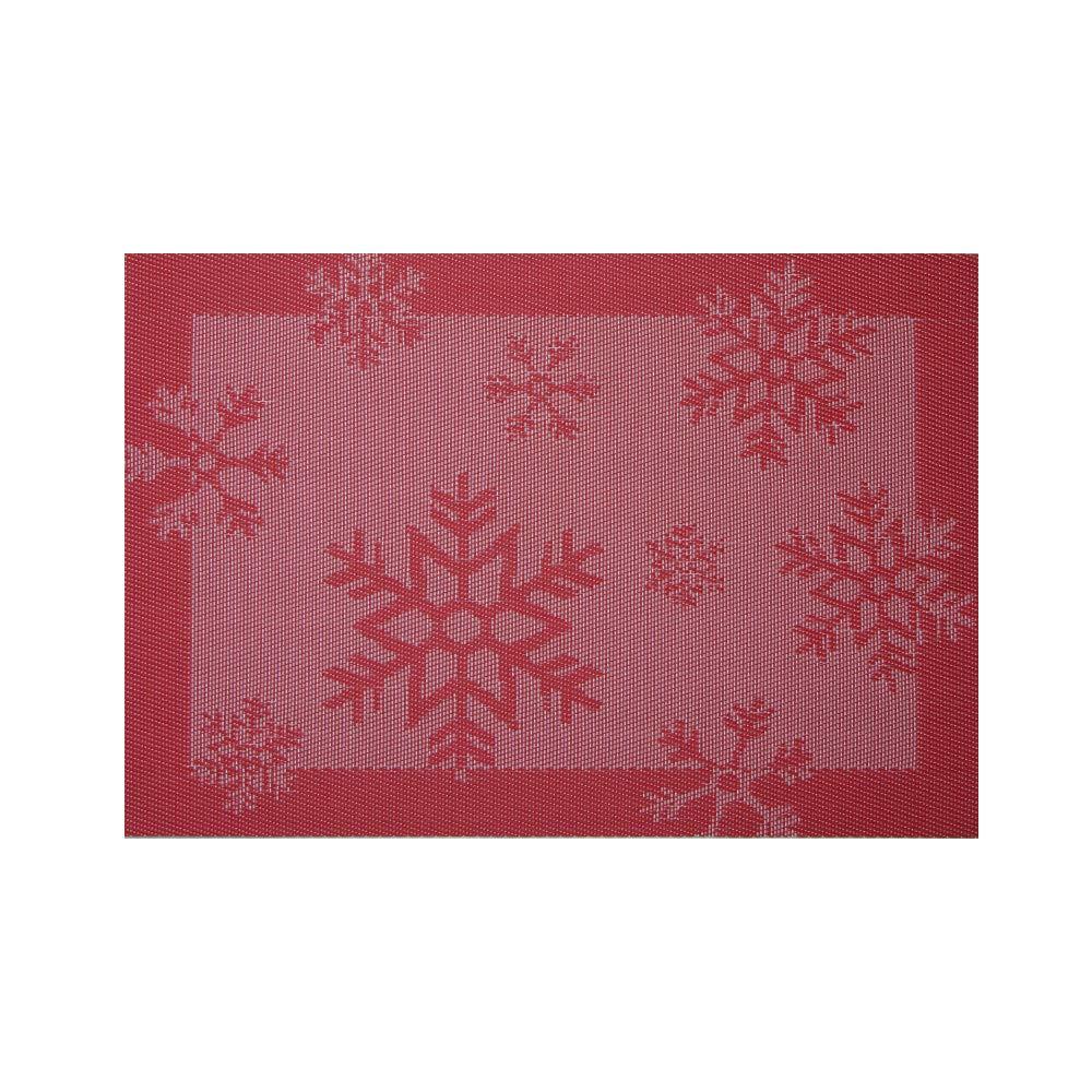 Dolloress Home & Kitchen  18×12インチ クリスマス 雪の結晶デザイン 洗濯可能 織物 ノンスリップ ポリ塩化ビニル プレースマット 断熱 テーブルマット ダイニングテーブル用 18