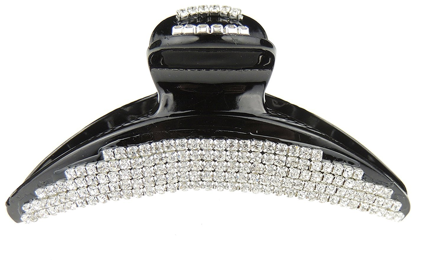 Extra Sparkly Black Diamante Crystal Evening Ladies Luxury 10.5cm Hair Claw Clamp Large Curved Glamour Girlz