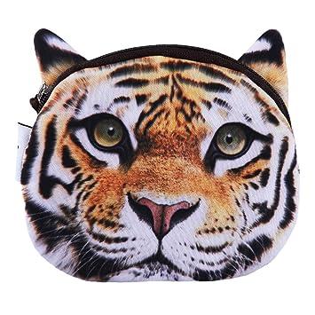 SEVENHOPE Hara Tiger Printing Moneda Zip Cartera 3D Animales ...