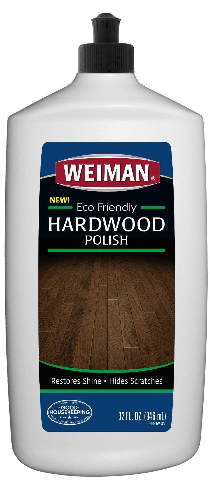 Weiman Ecofriendly Wood Floor Polish - 32 Fluid Ounces - Safe Around Kids or Pets - Restore Shine Hardwood Finished Oak Maple Cherry Birch Walnut Engineered Hardwood Vinyl Laminate