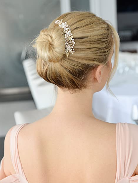 handmade hairdressing accessory bun pins 8 mm Golden pearly Pearl Bridal hairstyle Golden and ivory hair picks