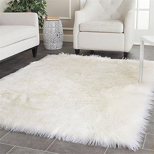 Amazon Com Elhouse Home Decor Soft Mat Square Rugs Faux Fur Sheepskin Area Rug Baby Nursery Bedroom Shaggy Carpet Fluffy Rug 5ft X 7ft White Furniture Decor