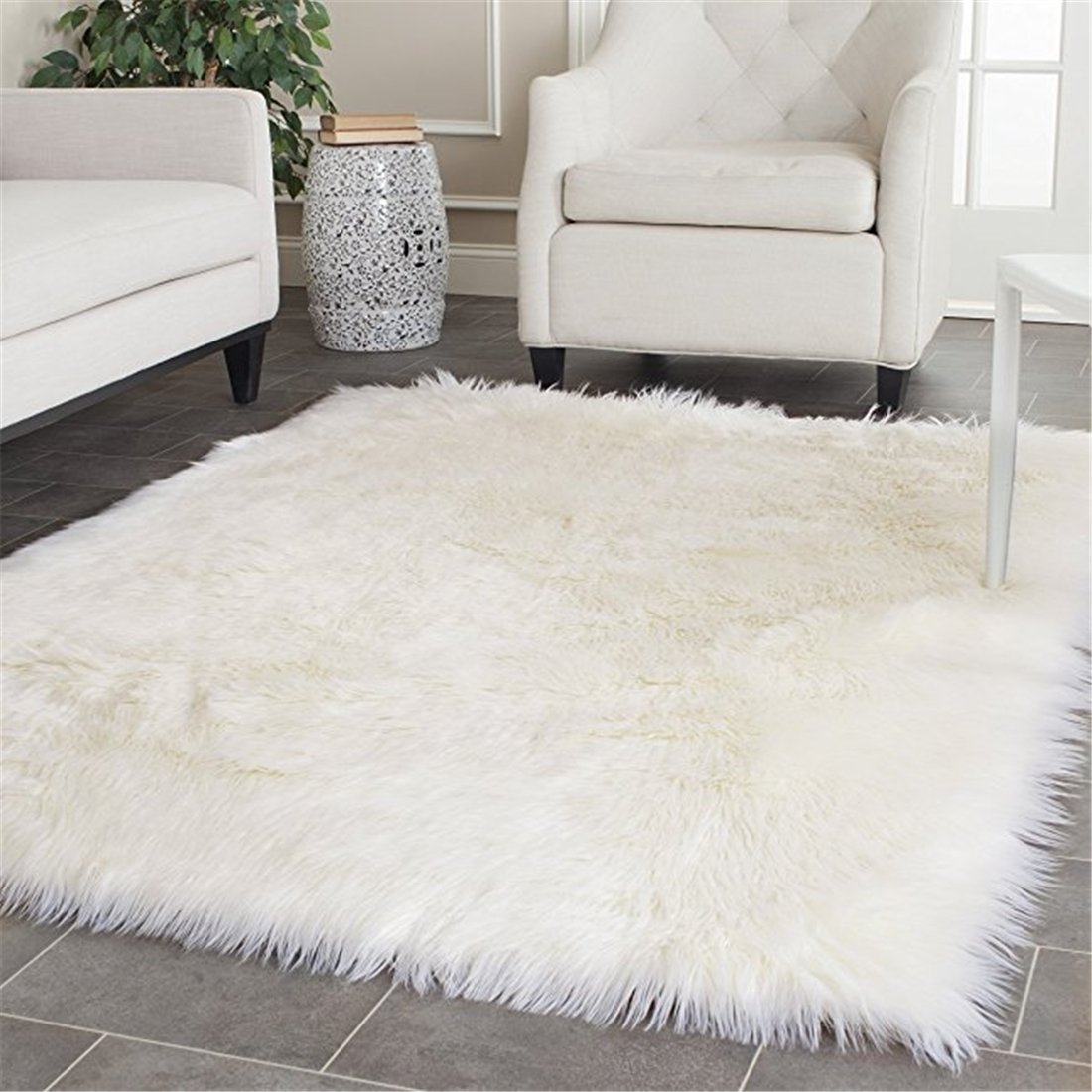 FurFurug Faux Silky Deluxe Sheepskin Area Shag Rug Children Play Carpet White,3x5ft