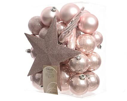 Pink Christmas Tree Decorations Uk.Blush Pink Shatterproof Baubles With Tree Topper