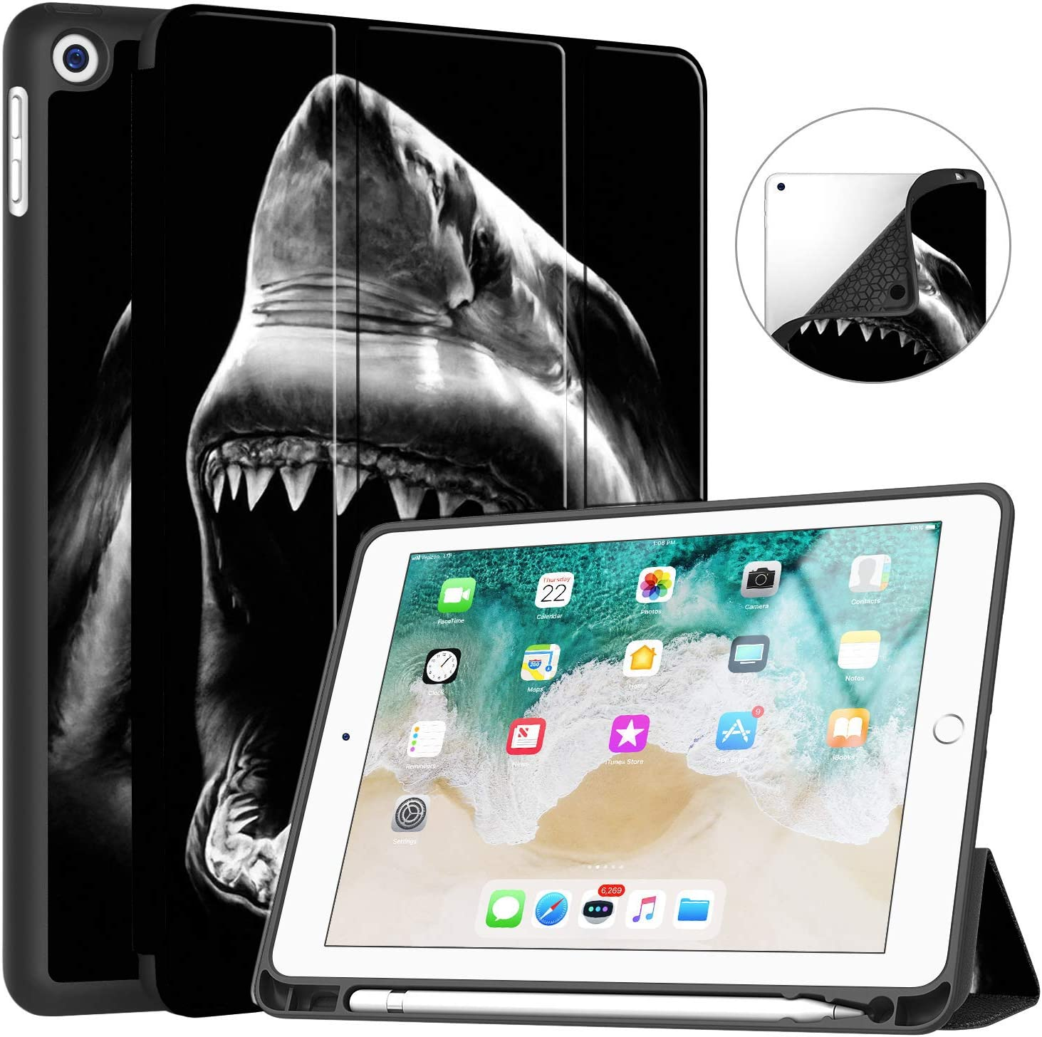 """iPad 7th Generation 10.2"""" 2019 Case,Big Black and White Shark Pattern PU Leather Slim Soft TPU Back with Pencil Holder Cover for 2019 iPad 7th Gen 10.2 Inch(Auto Wake/Sleep)"""