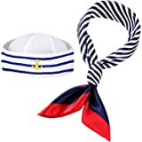 Sailor Hat and Scarf Set for Women Fancy Navy Outfit Blue with White Sail Hat Navy Sailor Hat, Navy and White Scarf for Costu