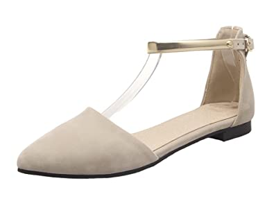 05645b2544 AgeeMi Shoes Womens Pointed Toe D'Orsay Flats Ankle Strap Pumps with  Buckle: Amazon.co.uk: Shoes & Bags