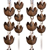 Ancient Graffiti Lily Rain Chains, Browned Copper Finish, Pack of 4