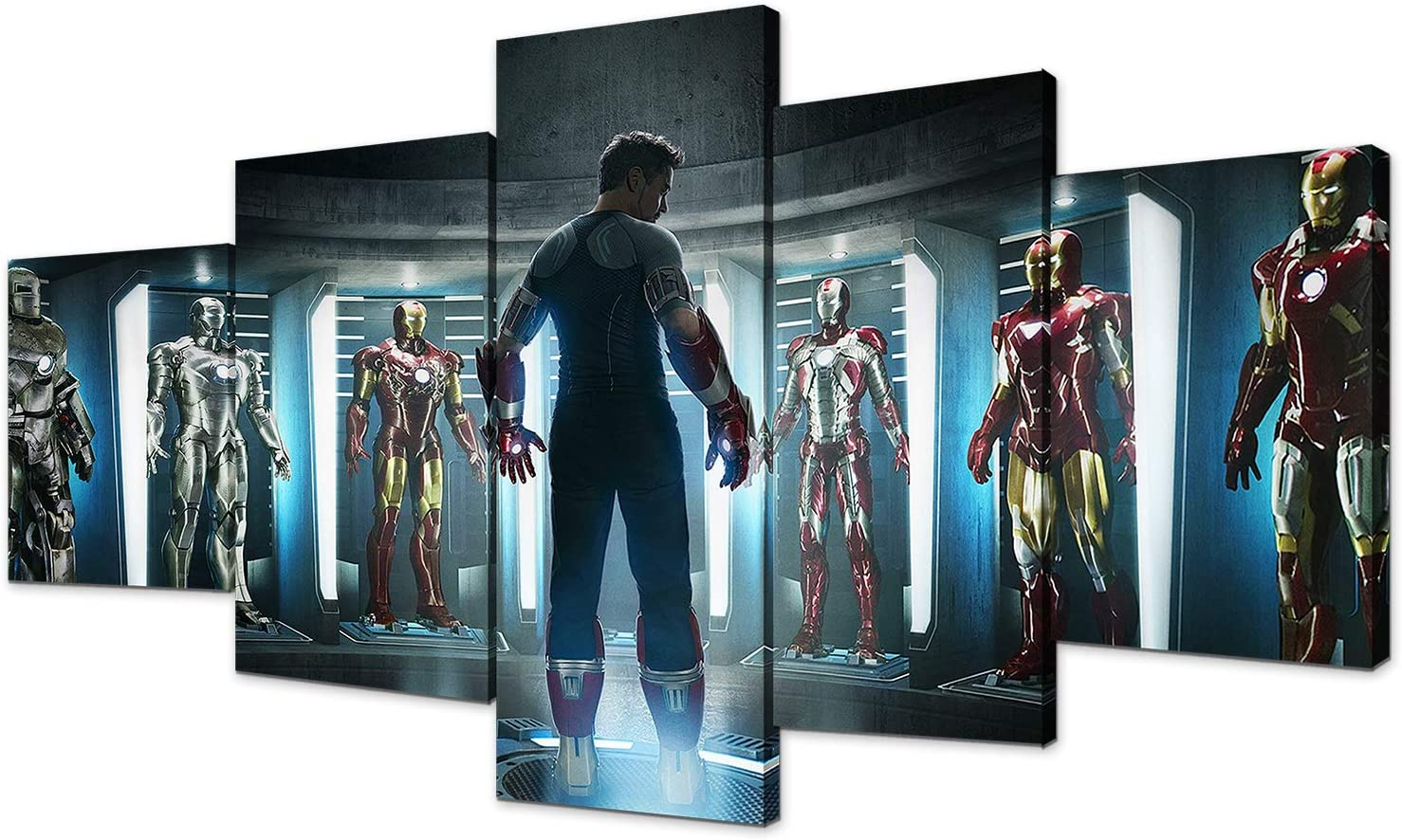 Iron Man 3 Movie Poster Marvel Avengers Iron Man Mark 1-43 Prints on Canvas Wall Art for Living Room Decor Boy Gift(With Frame, Avengers13)