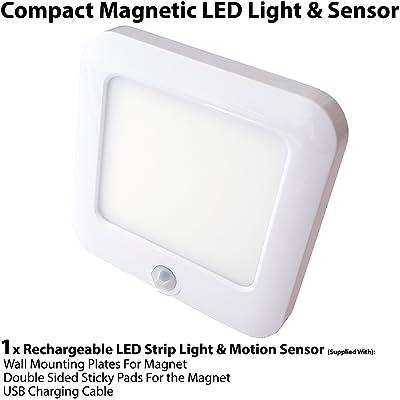 1x spot LED batterie et fermeture magnétique et PIR Auto détecteur de mouvement/détecteur de–Placard de cuisine sous Cabinet lumière alimentée par batterie * sans vis
