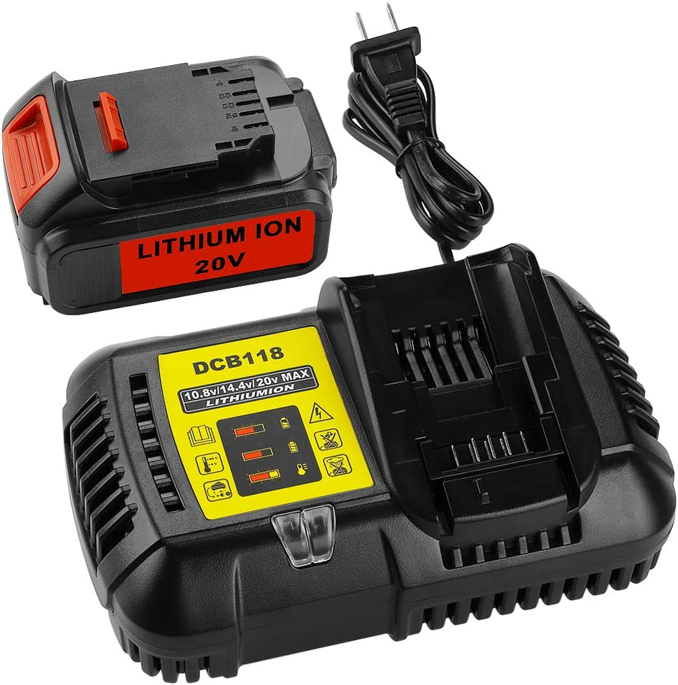 ANTRobut Replacement 5.0Ah Dewalt 20V Battery and Charger Kit DCB205 DCB204 Lithium-Ion 20 Volt Max Battery + 4.5A Battery Charger for Dewalt 12V 20V Max DC118 DCB112