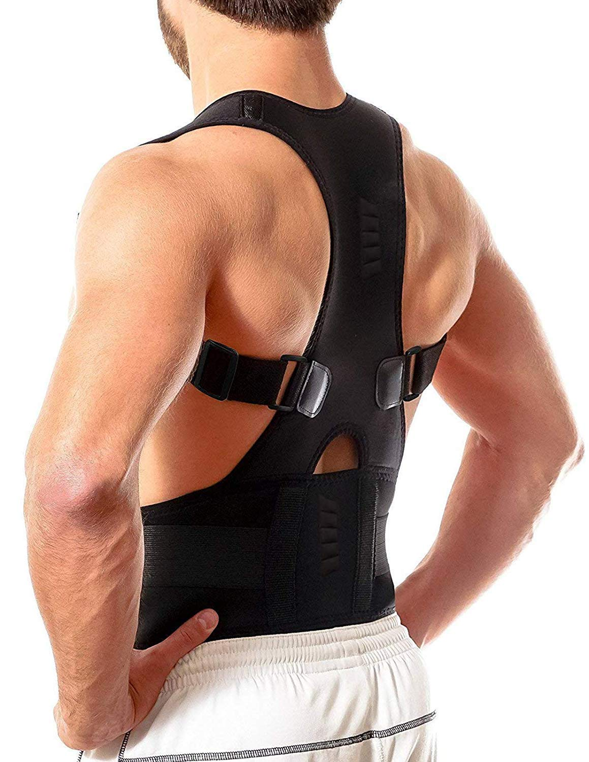 Bodychum Magnetic Therapy Posture Corrector Brace Shoulder Back Support Belt for Men Women Braces & Supports