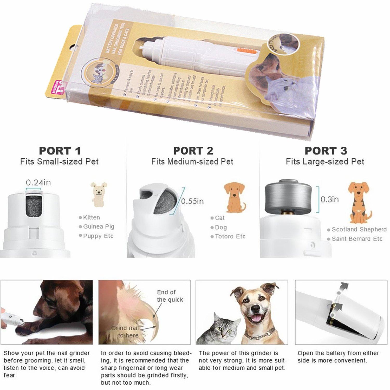 EJIAEN Molinillo de Uñas para Mascotas, Suave Pata de Uñas, Molinillo de Uñas Eléctrico para Perros y Gatos/Kit de Aseo para Mascotas: Amazon.es: Productos ...