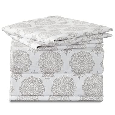 Bedsure Medallion Printed Floral Queen Sheet Set Grey Deep Pocket 4 Pieces Sheets and 2 Pillowcases